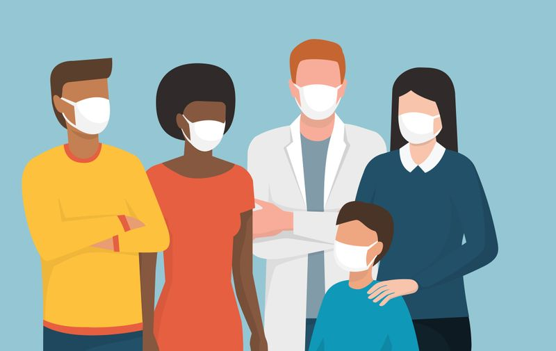 Group of people wearing surgical masks and standing together, coronavirus covid-20119 prevention and safety procedures concept