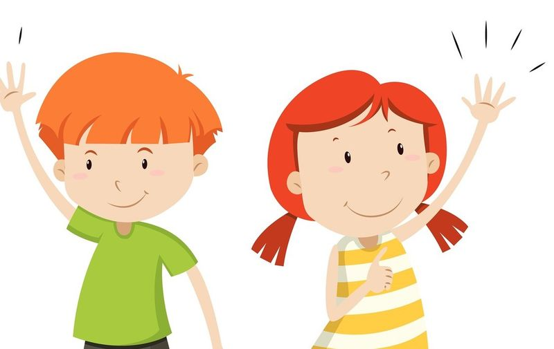 Boy and girl having their hands up illustration,Image: 624472240, License: Royalty-free, Restrictions: , Model Release: no, Credit line: Profimedia