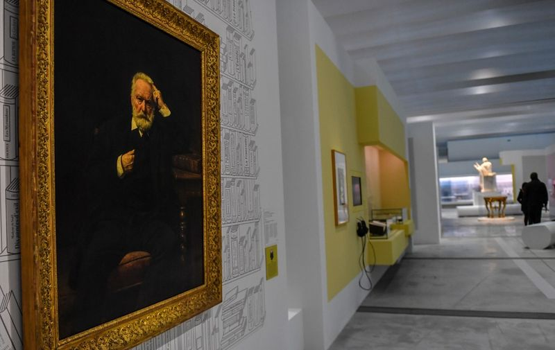 The painting and portrait of French author Victor Hugo by French painter Leon Bonnat is displayed at the Louvre Lens museum during the press visit of the exhibition about Greek poet Homer, in Lens northen France on March 26, 2019. - The exhibition will run from March 27, 2019 and July 22, 2019. (Photo by Denis Charlet / AFP) / RESTRICTED TO EDITORIAL USE - MANDATORY MENTION OF THE ARTIST UPON PUBLICATION - TO ILLUSTRATE THE EVENT AS SPECIFIED IN THE CAPTION