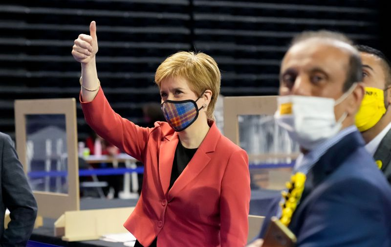 Scottish First Minister & SNP Leader Nicola Sturgeon celebrates after winning the Glasgow Southside constituency seat at the Scottish Election 2021 Glasgow count. Scottish Parliament Election Glasgow Count, Emirates Arena, Glasgow, Scotland, UK - 07 May 2021,Image: 609813392, License: Rights-managed, Restrictions: , Model Release: no, Credit line: Profimedia