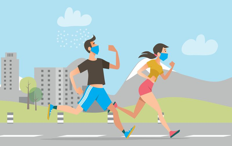 Active people in face masks running outdoors. Man and woman jogging during coronavirus outbreak. Vector illustration for fitness, exercising, epidemic concept