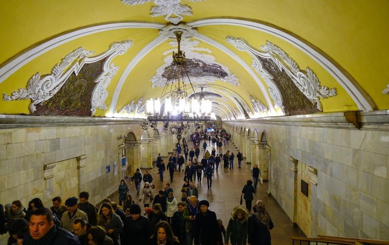 Moscow, Russia - Oct 19, 2016. People walking at an old metro station in Moscow, Russia. Moscow Metro has 203 stations and its route length is 339.1 km., Image: 345522212, License: Royalty-free, Restrictions: , Model Release: no, Credit line: Duy Phuong Nguyen / Alamy / Alamy / Profimedia
