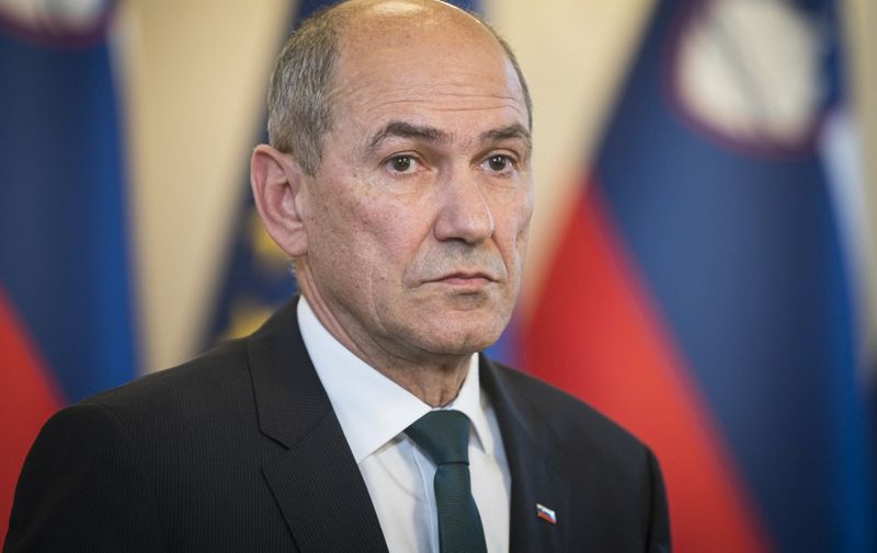 Janez Jansa, president of the Slovenian Democratic Party (SDS) addresses media during a press conference after a meeting with Slovenian president Borut Pahor (unseen) in Ljubljana, on February 26, 2020. (Photo by Jure Makovec / AFP)