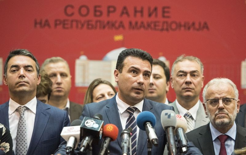 Macedonian Prime Minister Zoran Zaev gives a press conference in the Macedonian Parliament, in Skopje on October 19, 2018. - Macedonia's parliament on October 19, 2018 voted to start drafting constitutional amendments to rename the country North Macedonia, a major step towards breaking a decades-long stalemate with Greece. Eighty MPs in the 120-member assembly voted in favour of the motion, according to an AFP reporter in parliament, providing the necessary two-thirds supermajority to kickstart the process. (Photo by Robert ATANASOVSKI / AFP)
