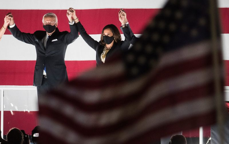 August 20, 2020; Wilmington, DE, USA; Joe Biden and Sen. Kamala Harris greet supporters at the end of the Democratic National Convention at the Chase Center.,Image: 554308909, License: Rights-managed, Restrictions: *** World Rights ***, Model Release: no