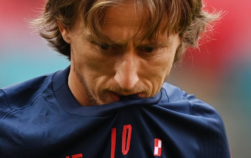 Croatia's midfielder Luka Modric gestures during their MD-1 training session at Wembley Stadium in London on June 12, 2021, the eve of their UEFA EURO 2020 Group D football match against England. (Photo by Glyn KIRK / AFP)