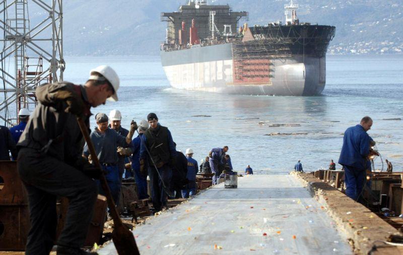 29.10.2011. Rijeka - U brodogradilistu 3. Maj svecano je porinut tanker Istra za prijevoz nafte izgradjen za narucitelja Uljanik plovidbu iz Pule. Photo: Goran Kovacic/PIXSELL