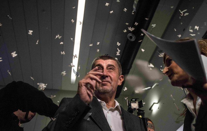 PRAGUE, CZECH REPUBLIC - OCTOBER 21: Leader of the ANO movement, Andrej Babis (C) arrives at ANO headquarters after the polling stations of Czech elections closed in Prague, Czech Republic on October 21, 2017. ANO movement took an early lead in the Czech Republic's general election partial results showed. Lukas Kabon / Anadolu Agency, Image: 353571430, License: Rights-managed, Restrictions: , Model Release: no, Credit line: Profimedia, Abaca