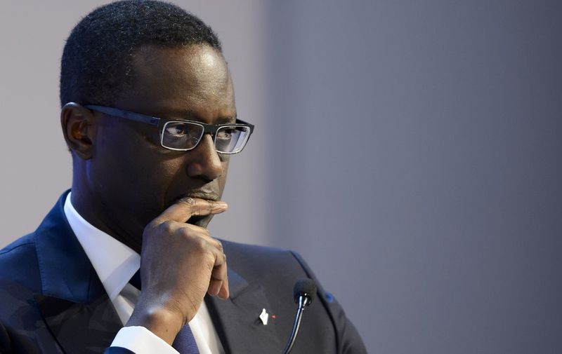 (FILES) In this file photo taken on January 23, 2016 Ivory Coast-born French Credit Suisse CEO Tidjane Thiam looks on during a session of the World Economic Forum annual meeting. - Credit Suisse, which has been rocked by a spying scandal, announced on February 7, 2020 that chief executive Tidjane Thiam had resigned and would be replaced by the current head of the bank's Swiss operations. (Photo by FABRICE COFFRINI / AFP)