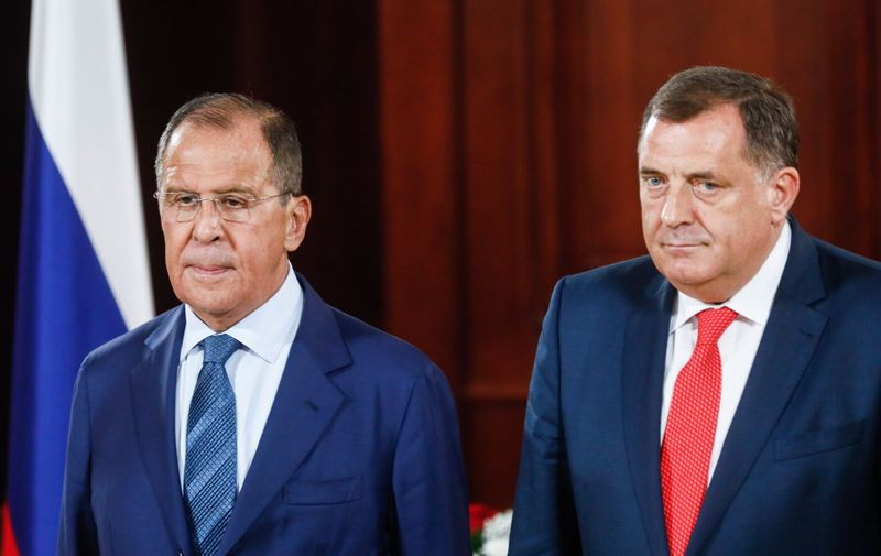 BOSNIA AND HERZEGOVINA - SEPTEMBER 21, 2018: Russia's Foreign Minister Sergei Lavrov (L) and Milorad Dodik, President of Republika Srpska [the Serb republic in Bosnia and Herzegovina], attend a press conference following their meeting in Banjaluka. Alexander Shcherbak/TASS,Image: 387777562, License: Rights-managed, Restrictions: , Model Release: no