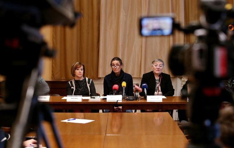 25.02.2016., Zagreb - U HND-u odrzana konferencija za medije inicijative Kulturnjaci 2016. Naima Balic, Ursa Raukar, Dunja Vejzovic. Photo: Dalibor Urukalovic/PIXSELL