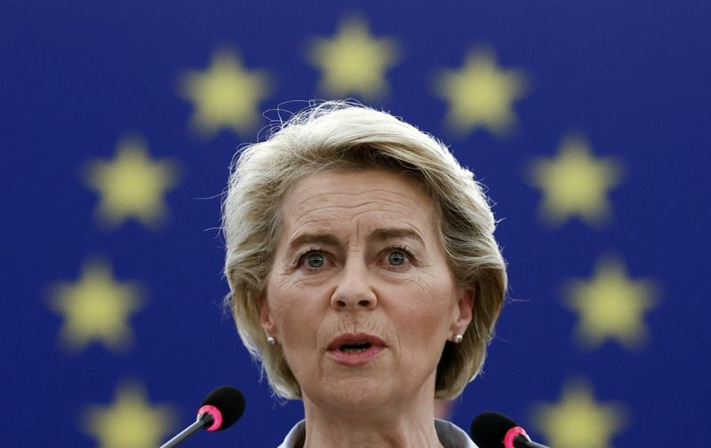 European Commission President Ursula von der Leyen speaks during the presentation of the programme of the activities of the Slovenian Presidency during a plenary session at the European Parliament in Strasbourg, on July 6, 2021. (Photo by CHRISTIAN HARTMANN / POOL / AFP)
