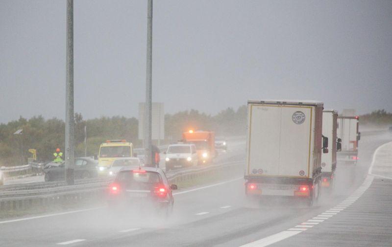 27.10.2020., Skradin - Prometna nesreca na autocesti A1 izmedju Pirovca i Skradina. Photo: Marko Dimic/PIXSELL