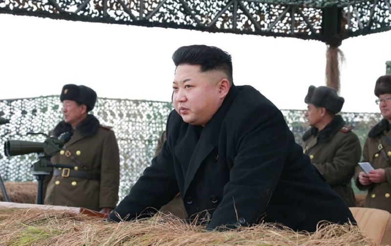 """This undated picture released from North Korea's official Korean Central News Agencdy (KCNA) on January 27, 2015 shows North Korean leader Kim Jong-Un (C) inspecting a winter river-crossing attack drill of the armored infantry sub-units of the motorized strike group in the western sector of the front of the Korean People's Army (KPA) at undisclosed place in North Korea.   AFP PHOTO / KCNA via KNS    REPUBLIC OF KOREA OUT  --- THIS PICTURE WAS MADE AVAILABLE BY A THIRD PARTY  ----- AFP CAN NOT INDEPENDENTLY VERIFY THE AUTHENTICITY, LOCATION, DATE AND CONTENT OF THIS IMAGE  ----  THIS PHOTO IS DISTRIBUTED EXACTLY AS RECEIVED BY AFP    ---EDITORS NOTE--- RESTRICTED TO EDITORIAL USE - MANDATORY CREDIT """"AFP PHOTO / KCNA VIA KNS"""" - NO MARKETING NO ADVERTISING CAMPAIGNS - DISTRIBUTED AS A SERVICE TO CLIENTS / AFP / KCNA / KNS"""