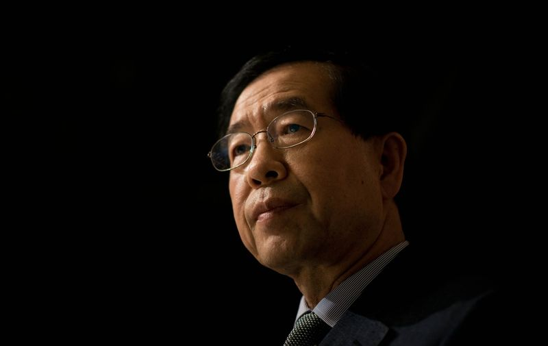 """(FILES) In this file photo taken on May 26, 2014 Seoul mayoral candidate Park Won-Soon attends an interview with AFP in Seoul.  Missing Seoul mayor Park Won-soon -- long seen as a potential South Korean presidential candidate -- has been found dead, Yonhap news agency reported police as saying early on July 10. Park was reportedly facing allegations of sexual misconduct and his daughter reported him missing on July 9, police said earlier, adding that he had left his house after saying what sounded like """"last words"""".,Image: 541540153, License: Rights-managed, Restrictions: , Model Release: no"""