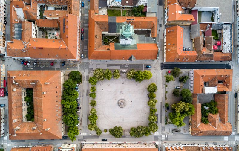 Karlovac city center, inside six-pointed star-shaped Renaissance fortress built against Ottomans, Croatia. Regular orthogonal planning and logical street layout of ideal town.