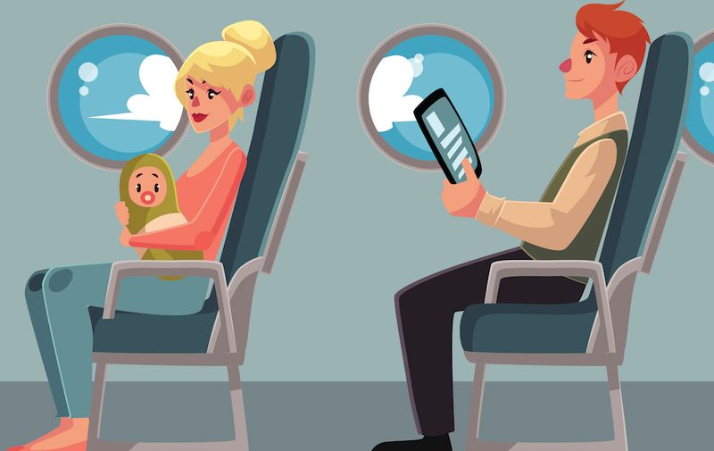 Set of airplane passenger in economy class - businessman, mother and baby, Caucasian man and African woman, cartoon vector illustration on white background. Passengers in airplane seats, economy class