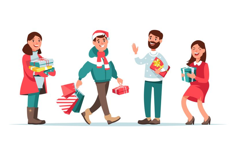 Vector illustration christmas people winter clothing with gift box cartoon style. Happy men and women doing Christmas shopping and give presents isolated