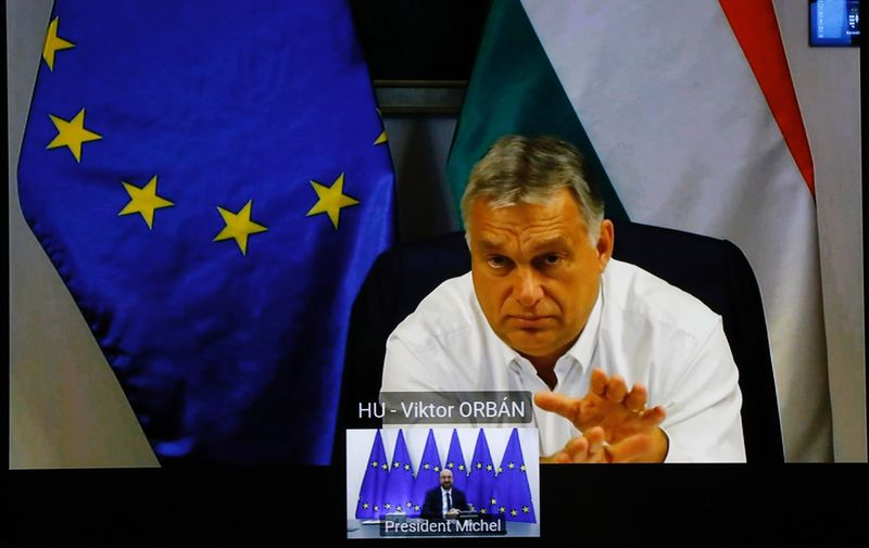 Belgium, Brussels - October 2, 2020.Video confrence with Viktor Orban, Hungarian Prime Minister.,Image: 562580653, License: Rights-managed, Restrictions: * France, Germany and Italy Rights Out *, Model Release: no