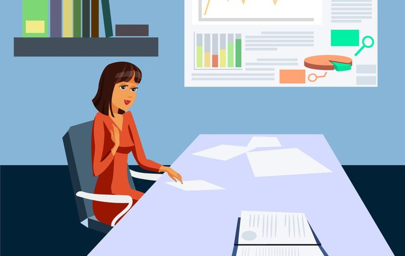 Businesswoman in Working Office Flat Illustration. Female Boss, Investor, Trader Cartoon Character. Successful, Confident, Wealthy Woman. Documents on Desk, Graph Growth Vector Drawing