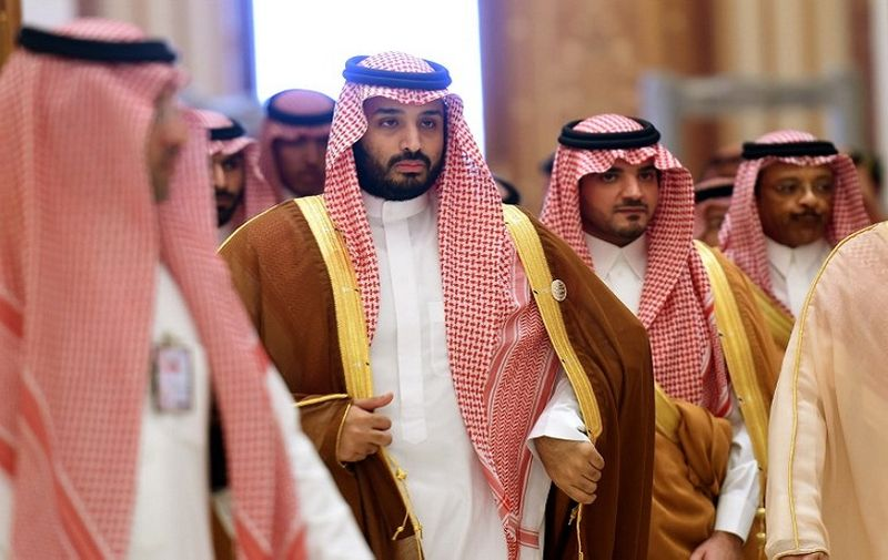 Saudi Defence Minister Mohammed bin Salman (2nd L),  who is the desert kingdom's deputy crown prince and second-in-line to the throne, arrives at the closing session of the 4th Summit of Arab States and South American countries held in the Saudi capital Riyadh, on November 11, 2015. The summit is aimed to strengthen ties between the geographically distant but economically powerful regions.  AFP PHOTO / FAYEZ NURELDINE / AFP PHOTO / FAYEZ NURELDINE