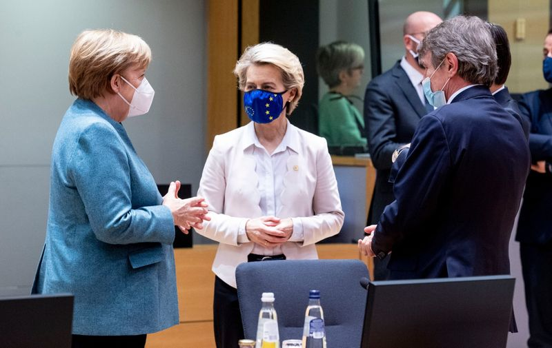 Belgium, Brussels -  December 10, 2020.Eureopean Council.The German Chancellor Angela Merkel; Ursula von der Leyen, President of the European Commission and Ithe Italian Prime Minister Giuseppe Conte,Image: 575002057, License: Rights-managed, Restrictions: * France, Germany and Italy Rights Out *, Model Release: no