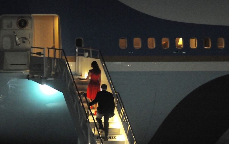 February 18, 2017 - Melbourne, Florida, United States - U.S. President Donald Trump and First Lady Melania Trump walk up the stairs to Air Force One after a campaign rally on February 18, 2017 at Orlando-Melbourne International Airport in Melbourne, Florida. This is the first event of its kind that Trump has held since his inauguration on January 20, 2017., Image: 321450997, License: Rights-managed, Restrictions: , Model Release: no, Credit line: Profimedia, Polaris