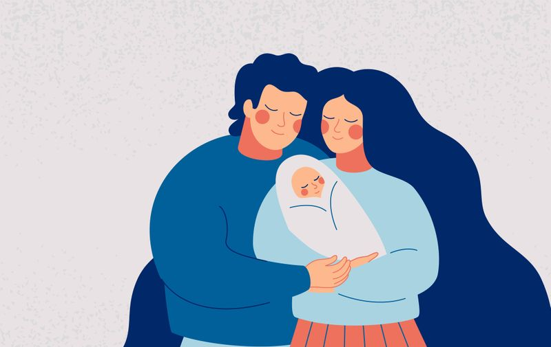 Young happy couple embracing their newborn with care and love. Father and mother with infant on the hands. Family and baby care vector concept.