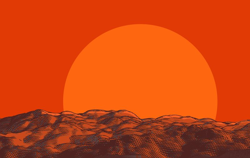 Warm colorful engraving drawing sunset on rough wavy ground background template with blank space