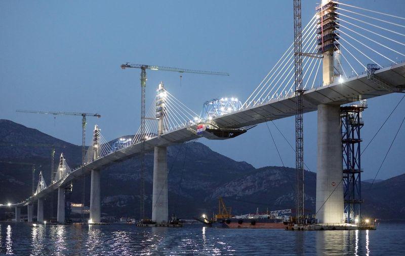 28.07.2021.  Komarna - Svecanost spajanja posljednjeg segmenta konstrukcije Peljeskog mosta.  Photo: Grgo Jelavic/PIXSELL