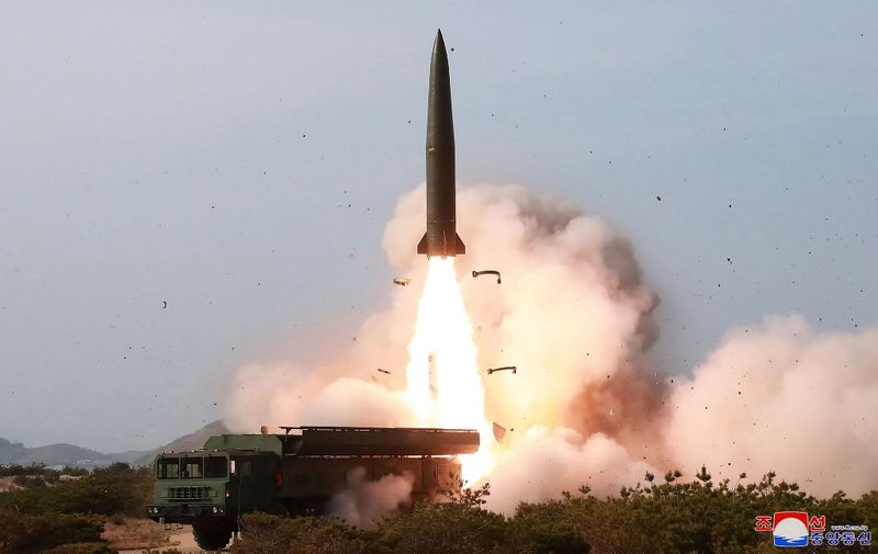 """This picture taken on May 4, 2019 and released from North Korea's official Korean Central News Agency (KCNA) on May 5, 2019 shows a test of weapons in an undisclosed location in North Korea. - North Korea has tested long-range multiple rocket launchers and tactical guided weapons in a """"strike drill"""" overseen by leader Kim Jong Un, state media said. (Photo by KCNA VIA KNS / various sources / AFP) / South Korea OUT / ---EDITORS NOTE--- RESTRICTED TO EDITORIAL USE - MANDATORY CREDIT """"AFP PHOTO/KCNA VIA KNS"""" - NO MARKETING NO ADVERTISING CAMPAIGNS - DISTRIBUTED AS A SERVICE TO CLIENTS / THIS PICTURE WAS MADE AVAILABLE BY A THIRD PARTY. AFP CAN NOT INDEPENDENTLY VERIFY THE AUTHENTICITY, LOCATION, DATE AND CONTENT OF THIS IMAGE --- /"""