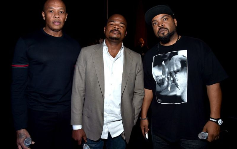LAS VEGAS, NV - APRIL 23: (L-R) Actor Dr. Dre, director F. Gary Gray and actor Ice Cube attend Universal Pictures Invites You to an Exclusive Product Presentation Highlighting its Summer of 2015 and Beyondat The Colosseum at Caesars Palace during CinemaCon, the official convention of the National Association of Theatre Owners, on April 23, 2015 in Las Vegas, Nevada.   Alberto E. Rodriguez/Getty Images for CinemaCon/AFP
