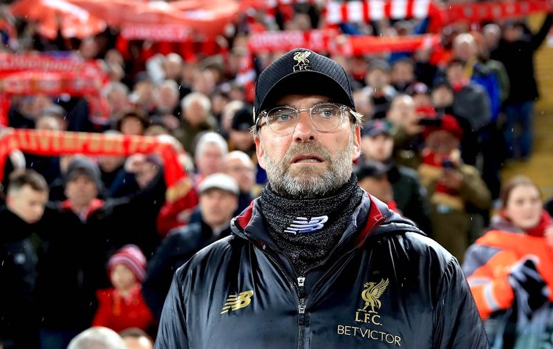 Liverpool manager Jurgen Klopp during the UEFA Champions League round of 16 first leg match at Anfield, Liverpool., Image: 414721916, License: Rights-managed, Restrictions: , Model Release: no, Credit line: Profimedia, Press Association