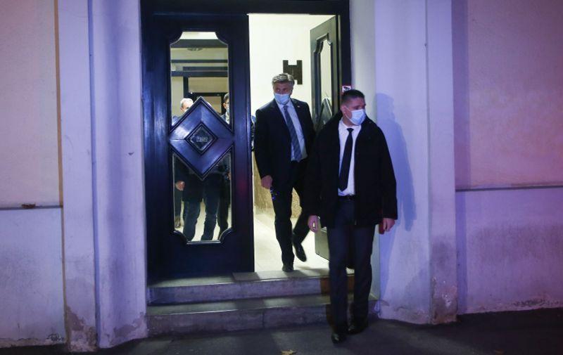 09.11.2020., Zagreb -  Premijer Andrej Plenkovic daje izjavu ispred HDZ-a. Photo: Matija Habljak/PIXSELL
