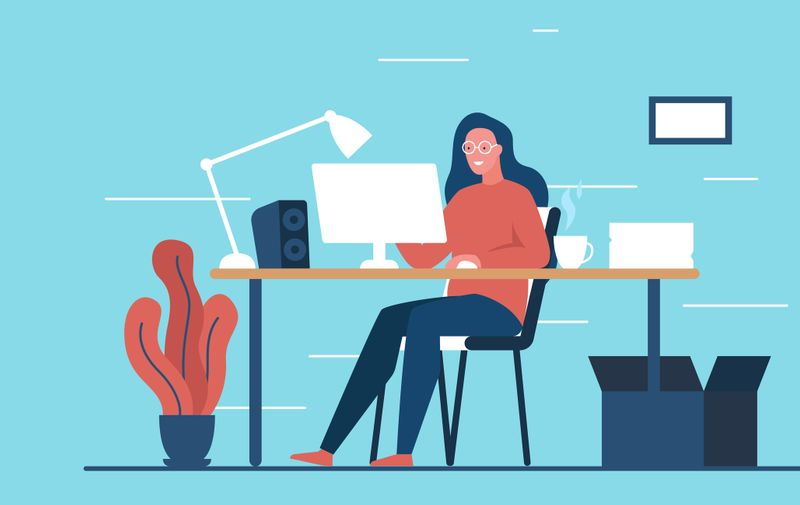 Modern colorful concept vector illustration of a beautiful smiling girl working at the computer in a cozy room. It represents a concept of freelance, work from home, programmer, designer and happy lifestyle