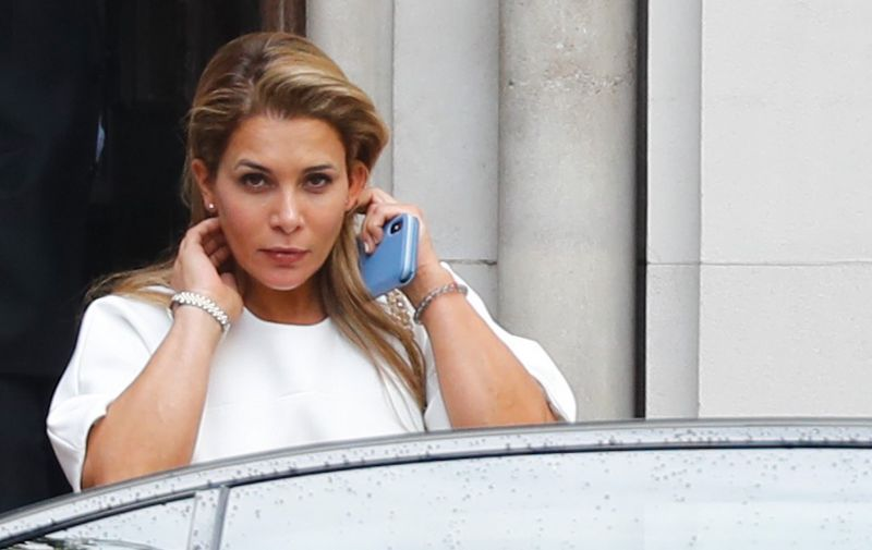 Princess Haya Bint al-Hussein of Jordan leaves the High Court in London on July 30, 2019. - Princess Haya, the estranged wife of the ruler of Dubai, Sheikh Mohammed bin Rashid Al-Maktoum, has applied for a forced marriage protection order, a London court heard on July 30, 2019, during a case about their children's welfare, Britain's PA news agency reported. (Photo by Tolga AKMEN / AFP)