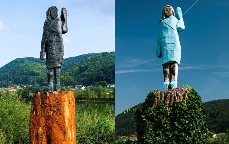 (COMBO) This combination of pictures created on September 15, 2020 shows the new bronze replica statue depicting US First Lady Melania Trump (L), made by US artist Brad Downey, after its unveiling in a field near US First Lady's hometown Sevnica, on September 15, 2020, and a file photo taken on July 05, 2019 showing what conceptual artist Ales 'Maxi' Zupevc claims is the first ever monument of Melania Trump, set in the same field near town of Sevnica. - The new bronze statue of US First Lady Melania Trump which was unveiled in a field near US First Lady's hometown Sevnica on September 15, 2020, is a replica of an original wooden statue (R) made by Slovenian artist Ales 'Maxi' Zupevc, which was inaugurated on July 4, 2019 and later burned by unknown perpetrators on July 5, 2020. (Photos by Jure Makovec / AFP) / RESTRICTED TO EDITORIAL USE - MANDATORY MENTION OF THE ARTIST UPON PUBLICATION - TO ILLUSTRATE THE EVENT AS SPECIFIED IN THE CAPTION RESTRICTED TO EDITORIAL USE - MANDATORY MENTION OF THE ARTIST UPON PUBLICATION - TO ILLUSTRATE THE EVENT AS SPECIFIED IN THE CAPTION /