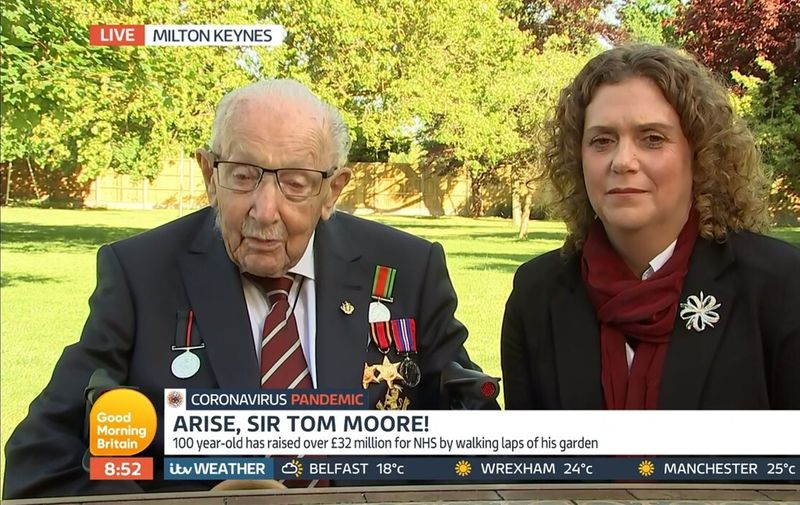 Captain Tom Moore 'Good Morning Britain' TV Show, London, UK - 20 May 2020,Image: 520891069, License: Rights-managed, Restrictions: , Model Release: no