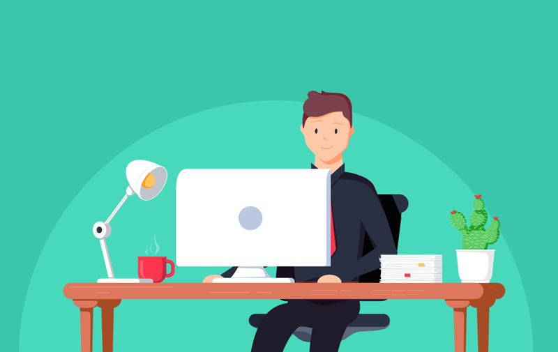 Business man entrepreneur in a suit working at his office desk. Vector illustration in flat style. Businessman working at office with computer and documents on his desk, consultant lawyer concept.