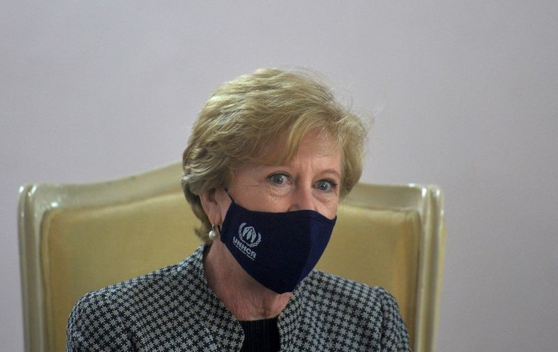 United Nations High Commissioner for Refugees (UNHCR) Gillian Triggs attends a meeting with Bangladesh foreign minister A. K. Abdul Momen, in Dhaka on June 2, 2021. (Photo by Munir Uz zaman / AFP)