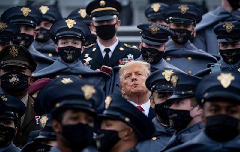 US President Donald Trump joins West Point cadets during the Army-Navy football game at Michie Stadium on December 12, 2020 in West Point, New York. (Photo by Brendan Smialowski / AFP)