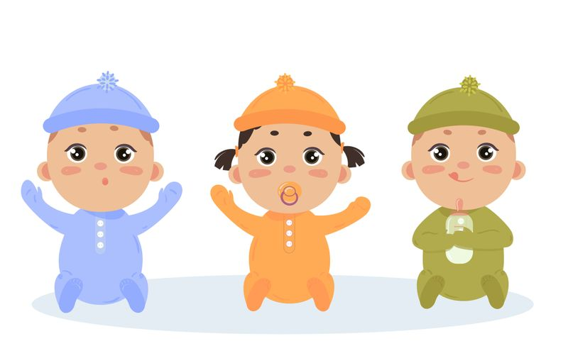 Cute vector set of three babies smiling. Baby triplets sitting in footies cloth and caps. Newborn girl with comforter and two boys. Vector illustration