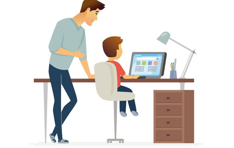 Homework - cartoon people characters illustration isolated on white background. Young handsome father helping his son to prepare for a lesson. Kid sitting at the desk with a laptop. Family concept