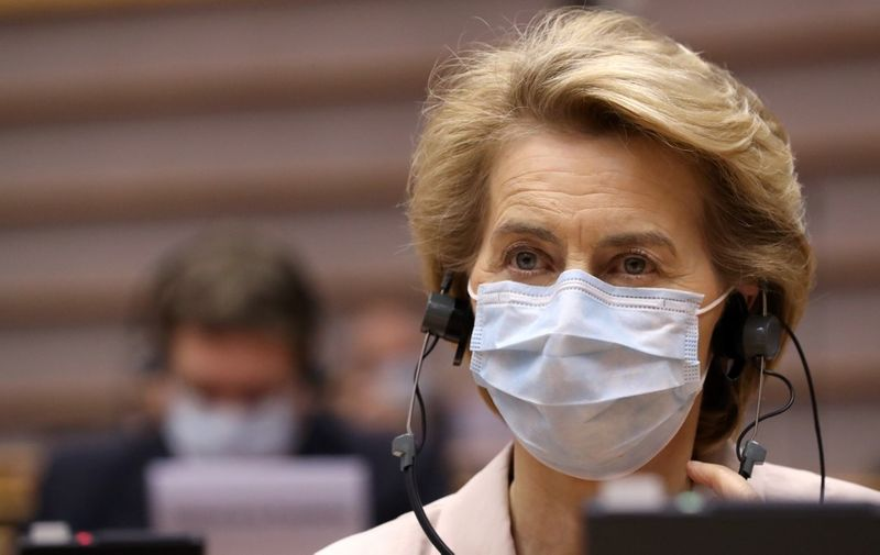 President of the European Commission Ursula von der Leyen wears a protective facemask as she attends a plenary session at The European Parliament in Brussels on July 8, 2020, upon the presention of the German programme for EU presidency. - The German presidency started on July 1, and will last until December 31, 2020. (Photo by YVES HERMAN / POOL / AFP)