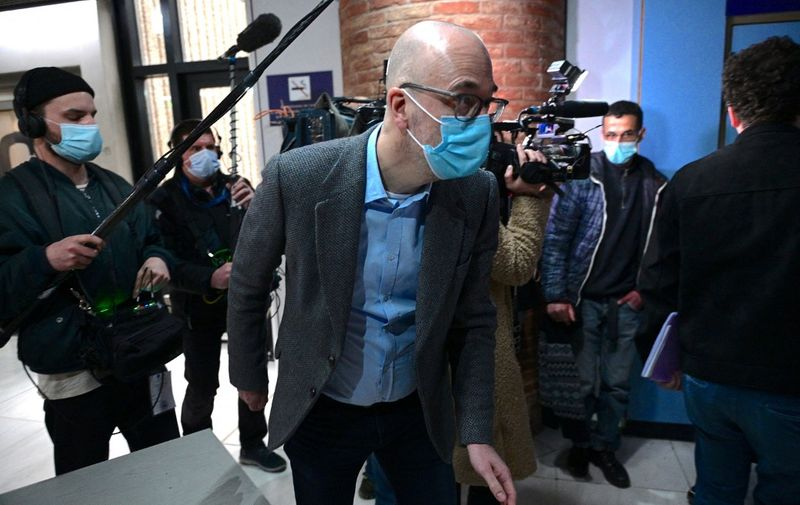 Former Ikea France director Stefan Vanoverbeke arrives at Versailles courthouse, on March 22, 2021, prior to the trial of Ikea France as a corporate entity along with several of its former executives, over accusations of running an elaborating system to spy on staff and job applicants in Versailles, southwest of Paris. (Photo by MARTIN BUREAU / AFP)