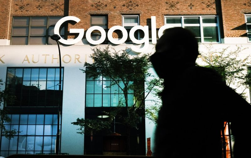 (FILES) In this file photo Google's offices stand in downtown Manhattan on October 20, 2020 in New York City. - Employees at Google and other units of parent firm Alphabet announced the creation January 4, 2021 of a union, aiming for a bigger role in company decisions in a move which steps up the activism brewing in Silicon Valley giants. The Alphabet Workers Union, affiliated with the Communications Workers of America, aims to represent well-compensated tech workers as well as temporary workers and contractors, according to a statement. (Photo by SPENCER PLATT / GETTY IMAGES NORTH AMERICA / AFP)