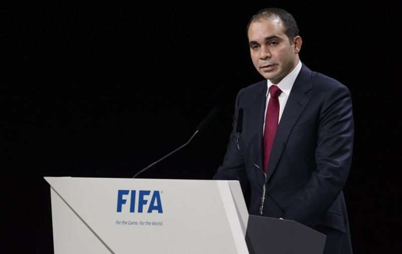 (FILES) A picture taken on May 29, 2015 shows FIFA vice president Prince Ali bin al-Hussein of Jordan delivering his speech ahead of the vote to decide on the FIFA presidency in Zurich. Prince Ali will stand in new elections for the presidency of world football's governing body after Sepp Blatter announced he was to quit FIFA, a senior Jordanian football official told AFP on June 2, 2015. AFP PHOTO / FABRICE COFFRINI