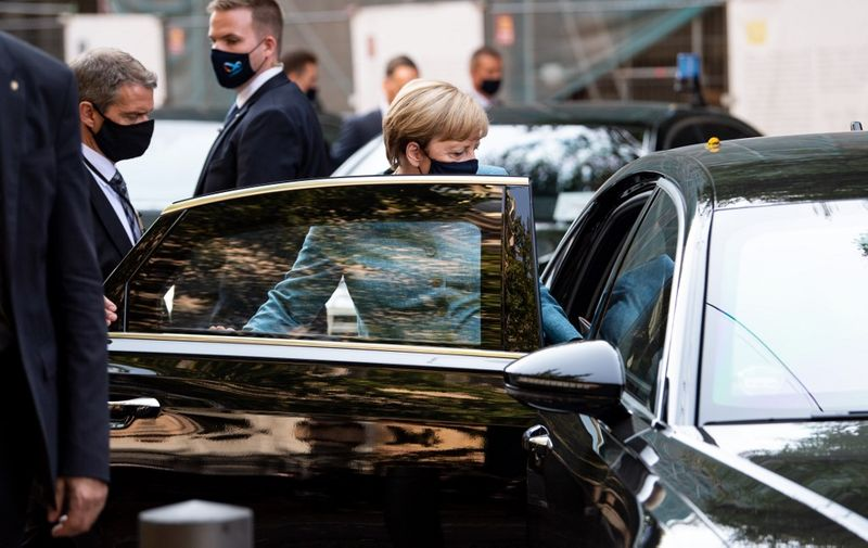 German Chancellor Angela Merkel leaves after attending a ceremony marking the 70th anniversary of the Central Council of Jews in Germany at the New Synagogue in Berlin on September 15, 2020. (Photo by Bernd von Jutrczenka / POOL / AFP)