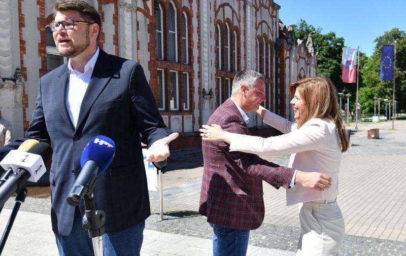 26.05.2021., Cakovec- Stjepan Kovač i Pedja Grbin na konferenciji za medije SDP-a uoci drugog kruga lokalnih izbora.   Photo: Vjeran Zganec Rogulja/PIXSELL
