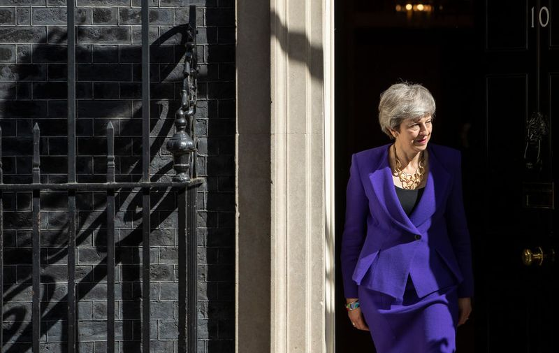 LONDON, ENGLAND - MAY 02: British Prime Minister Theresa May prepares to welcome Icelandic Prime Minister Katrin Jakobsdottir to 10 Downing Street on May 2, 2019 in London, England. (Photo by Dan Kitwood/Getty Images)